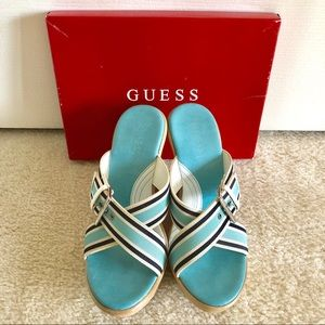 guess blue striped wedge heels